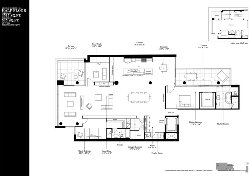 500 WELLINGTON - TWO BED FLOORPLAN 3515 SQ FT - CONTACT YOSSI KAPLAN