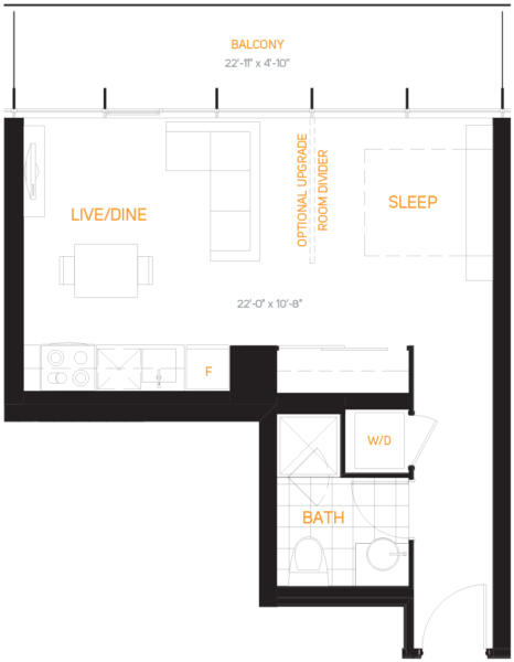 60 Colborne Condos - Floorplan One Bedroom 446 sq ft - Call Yossi Kaplan