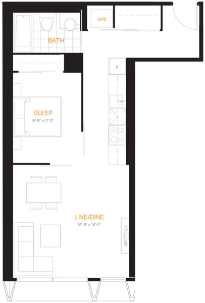 60 Colborne Condos - Floorplan One Bedroom 613 sq ft - Call Yossi Kaplan