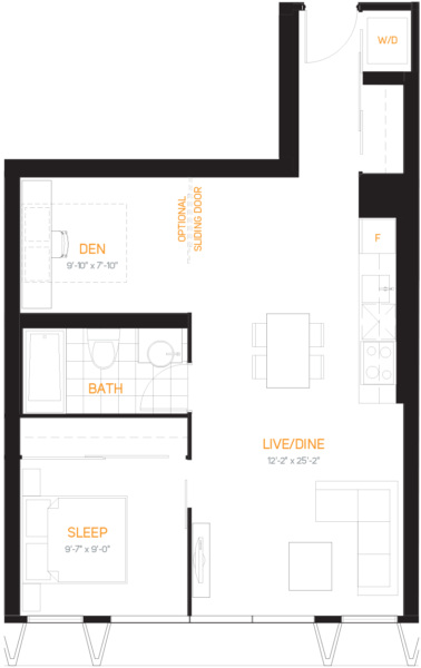 60 Colborne Condos - Floorplan One Bedroom 686 sq ft - Call Yossi Kaplan
