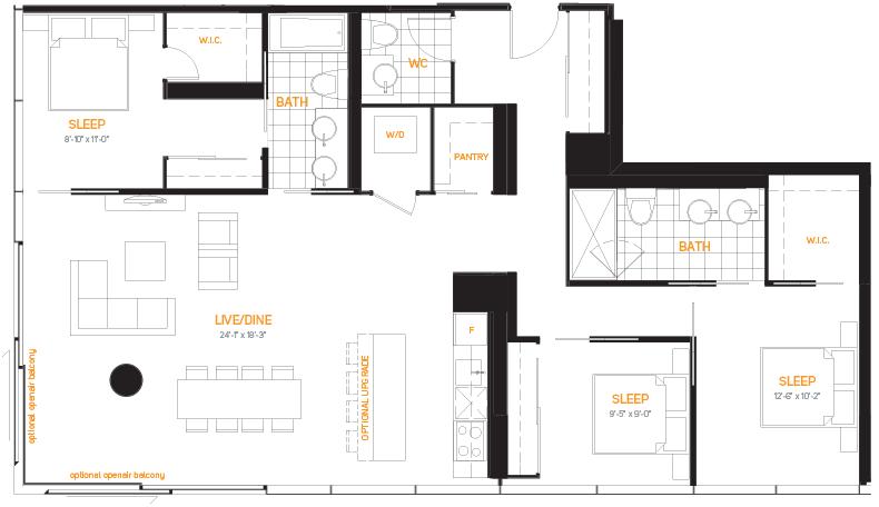 60 Colborne Condos - Floorplan Three Bedrooms 1479 sq ft - Call Yossi Kaplan