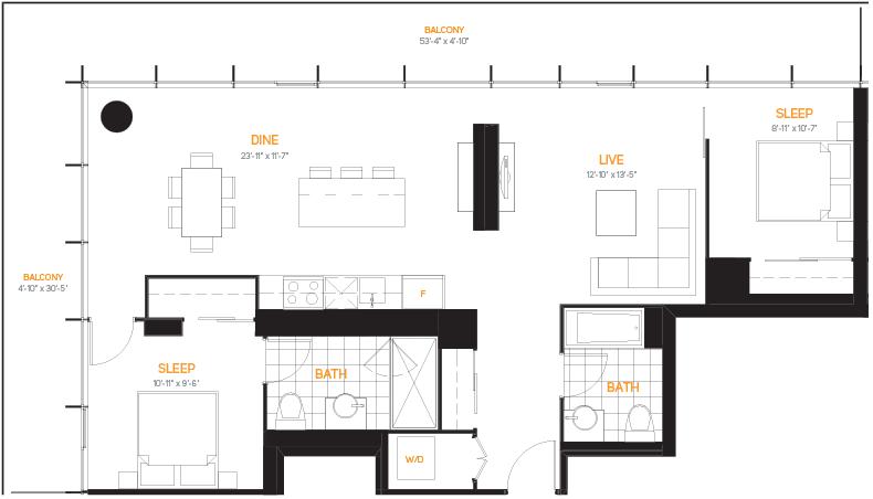 60 Colborne Condos - Floorplan Two Bedrooms 1086 sq ft - Call Yossi Kaplan