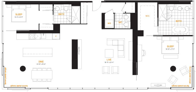 60 Colborne Condos - Floorplan Two Bedrooms 1996 sq ft - Call Yossi Kaplan