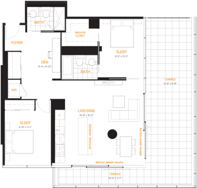 60 Colborne Condos - Floorplan Two Bedrooms 989 sq ft - Call Yossi Kaplan