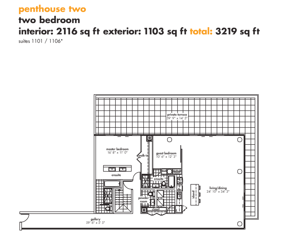75 PORTLAND PENTHOUSE FOR SALE - PENTHOUSE FLOORPLAN 2116 SQ FT