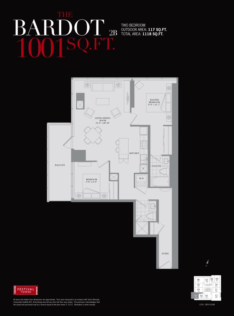 80 JOHN - TWO BEDROOM FLOORPLAN 1001 SQ FT