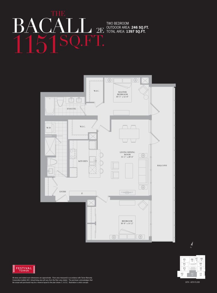 80 JOHN - TWO BEDROOM FLOORPLAN 1151 SQ FT