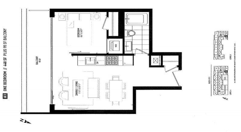 875 Queen St East Floorplans - One Bed 448 - Contact Yossi Kaplan