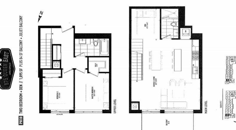 875 Queen St East Floorplans - Two Bed Plus Den 1095 - Contact Yossi Kaplan