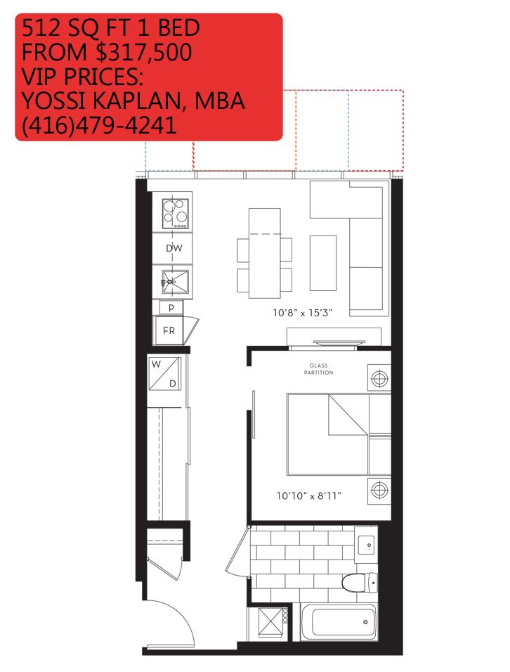 88 QUEEN CONDOS - FLOORPLANS ONE BED 512 SQ FT - CONTACT YOSSI KAPLAN