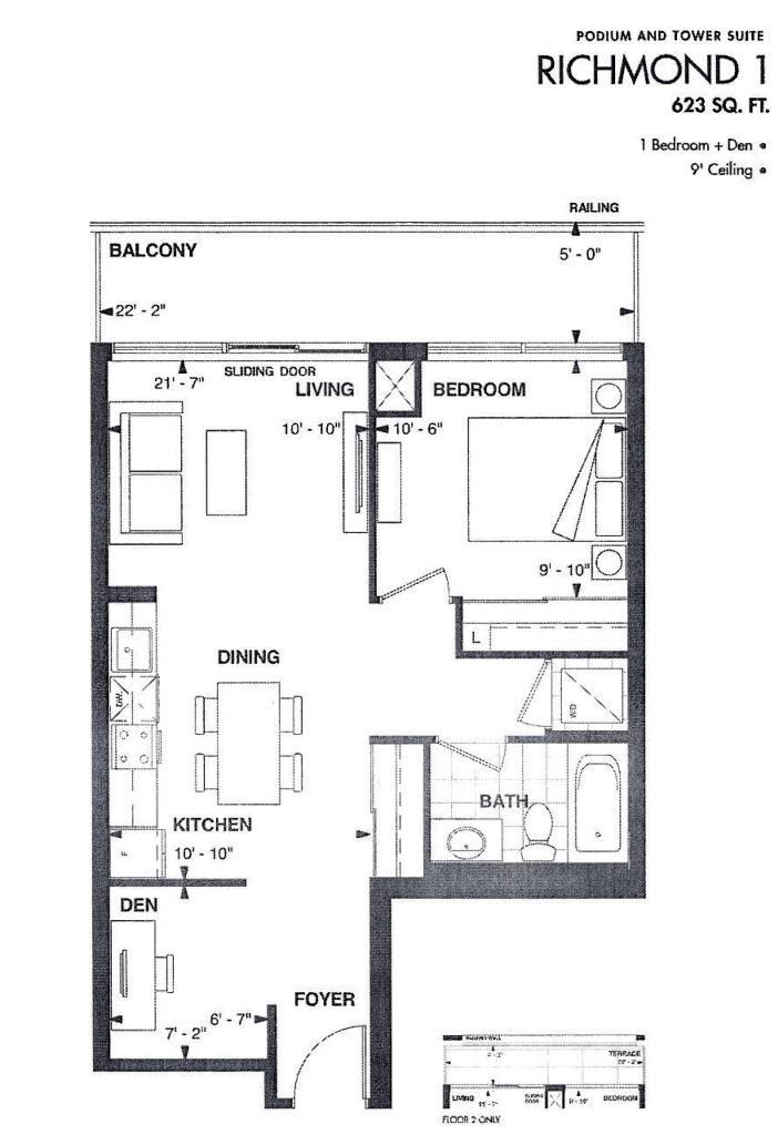 AXIUM CONDOS - FLOORPLAN ONE BED 623 SQ FT - CONTACT YOSSI KAPLAN
