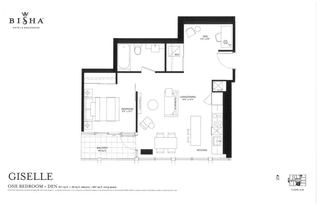BISHA HOTEL & RESIDENCES - FLOORPLANS ONE BEDROOM PLUS DEN 651 SQ FT