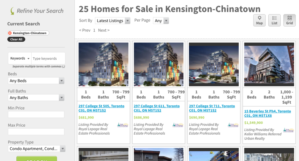 COLLEGE STREET CONDOS FOR SALE - SAVED MAP SEARCH SCREENSHOT