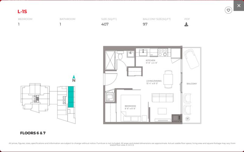 East Junction Condos for Sale @ 394 Symington Ave   One Bed 407sqft Floorplan