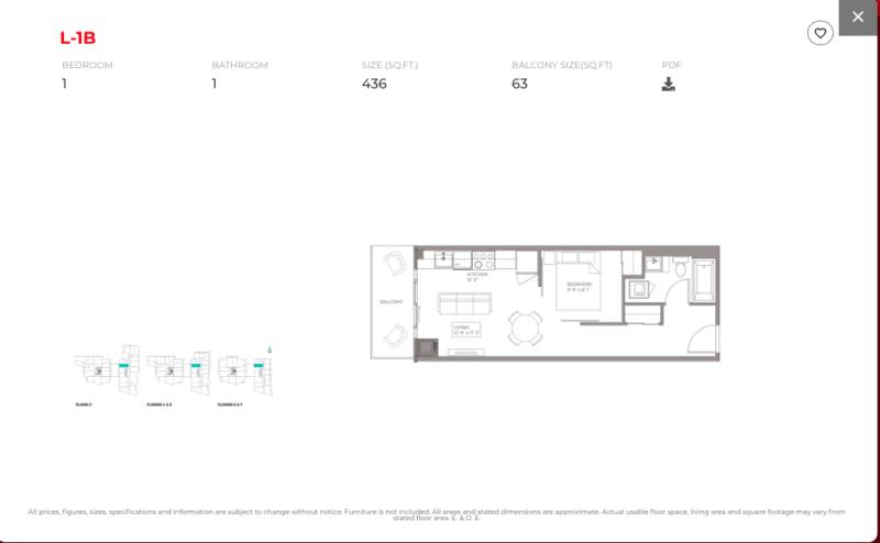 East Junction Condos for Sale @ 394 Symington Ave   One Bed 436sqft Floorplan