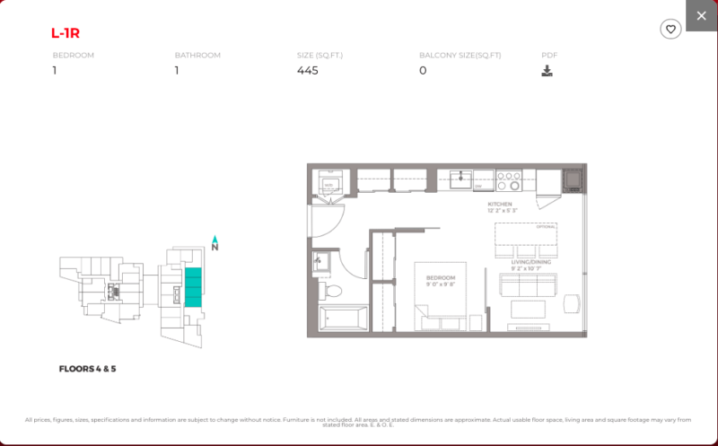 East Junction Condos for Sale @ 394 Symington Ave   One Bed 445sqft Floorplan