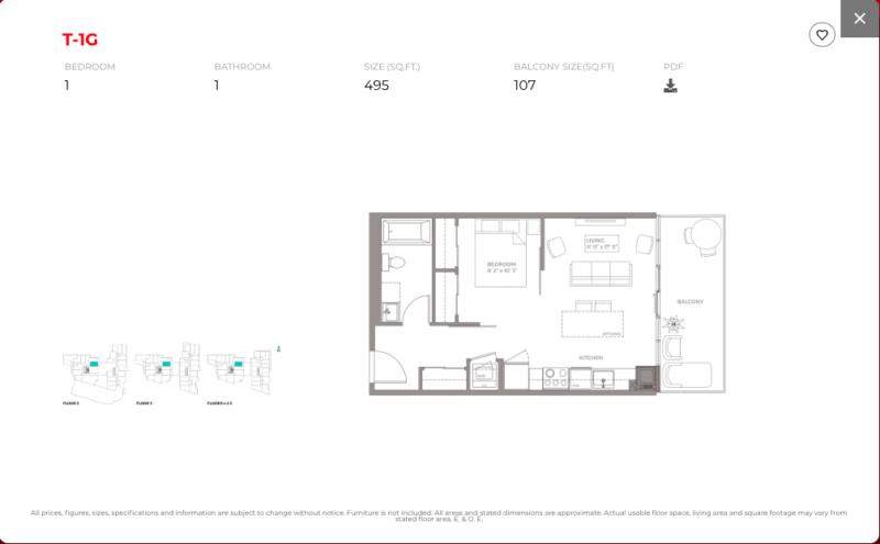East Junction Condos for Sale @ 394 Symington Ave   One Bed 495sqft Floorplan