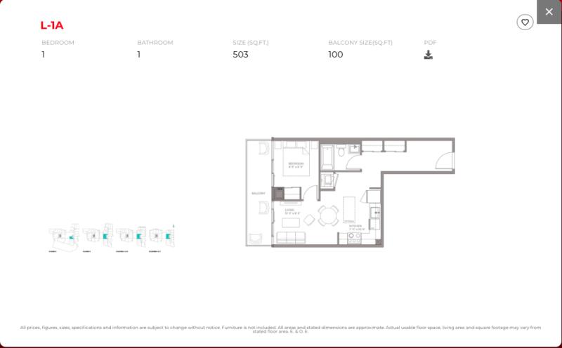 East Junction Condos for Sale @ 394 Symington Ave   One Bed 503sqft Floorplan