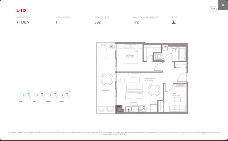 East Junction Condos for Sale @ 394 Symington Ave   One Bed Plus Den 592sqft Floorplan