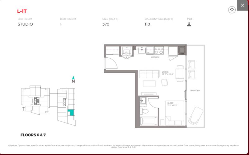 East Junction Condos for Sale @ 394 Symington Ave   Studio 370sqft Floorplan