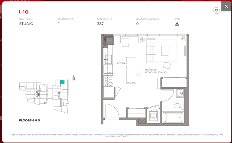 East Junction Condos for Sale @ 394 Symington Ave   Studio 387sqft Floorplan