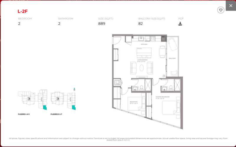 East Junction Condos for Sale   Two Bed 889sqft Floorplan