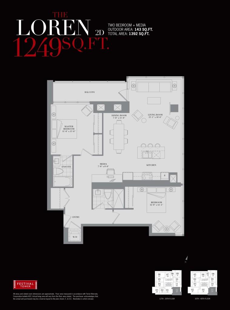 80 JOHN - TWO BED FLOORPLAN 1249 SQ FT