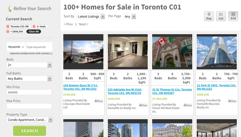 Five Amazing Two Bedroom Condos For Sale - Saved Search Screenshot