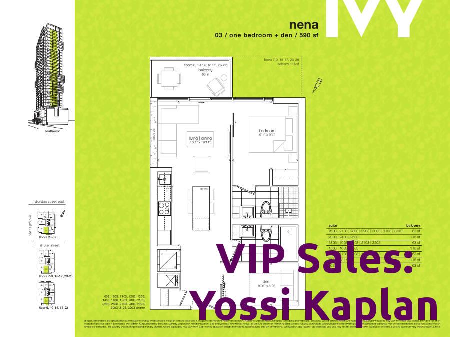 Ivy Condos @ 69 Mutual St - Nena Floorplan - VIP Sales Yossi Kaplan