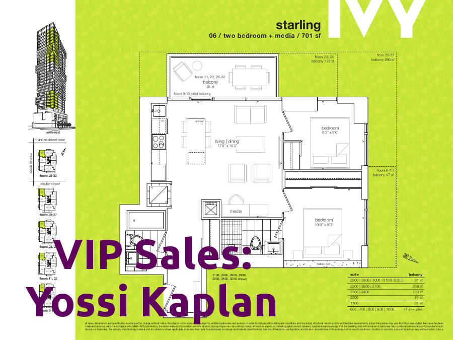 Ivy Condos @ 69 Mutual St - Starling Floorplan - VIP Sales Yossi Kaplan