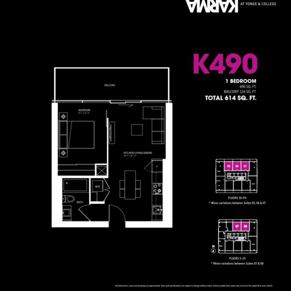 Karma Condos Floorplan One Bedroom K490