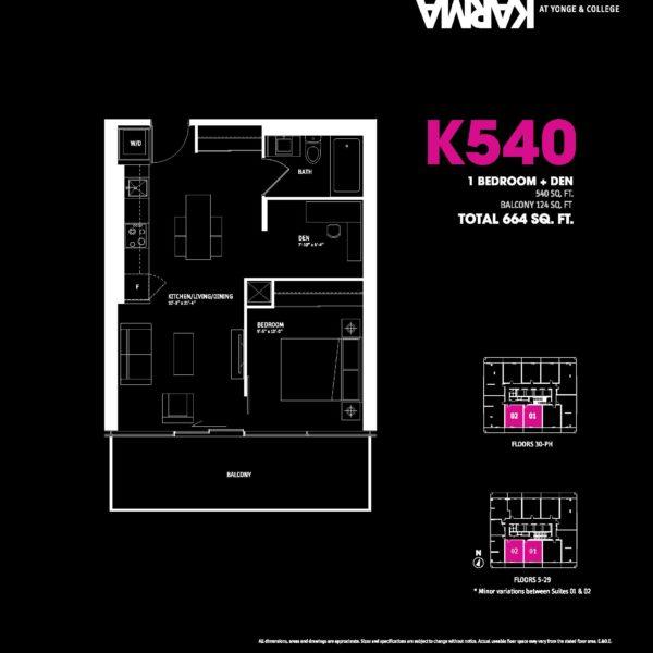 Karma Condos Floorplan One Bedroom K540