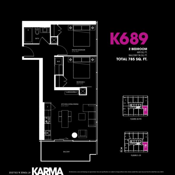 Karma Condos Floorplan Two Bedroom K689