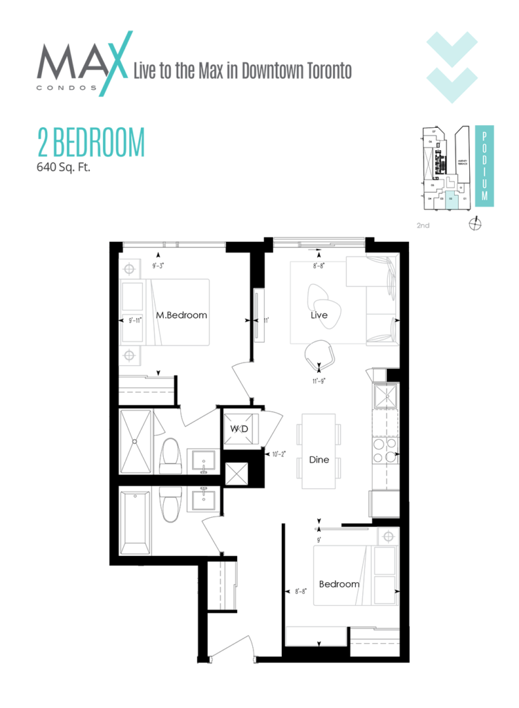 MAX CONDOS - FLOORPLANS TWO BED 640 SQ FT
