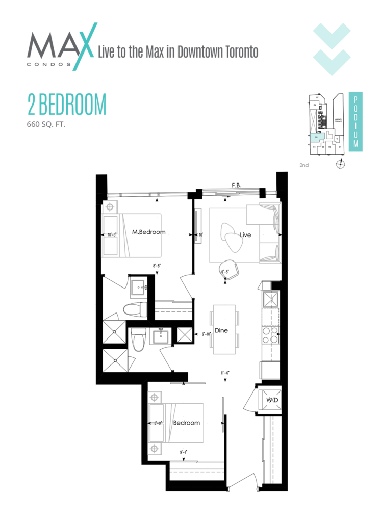 MAX CONDOS - FLOORPLANS TWO BED 660 SQ FT