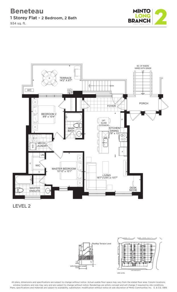 Minto Longbranch Townhomes - Beneteau Floorplan --