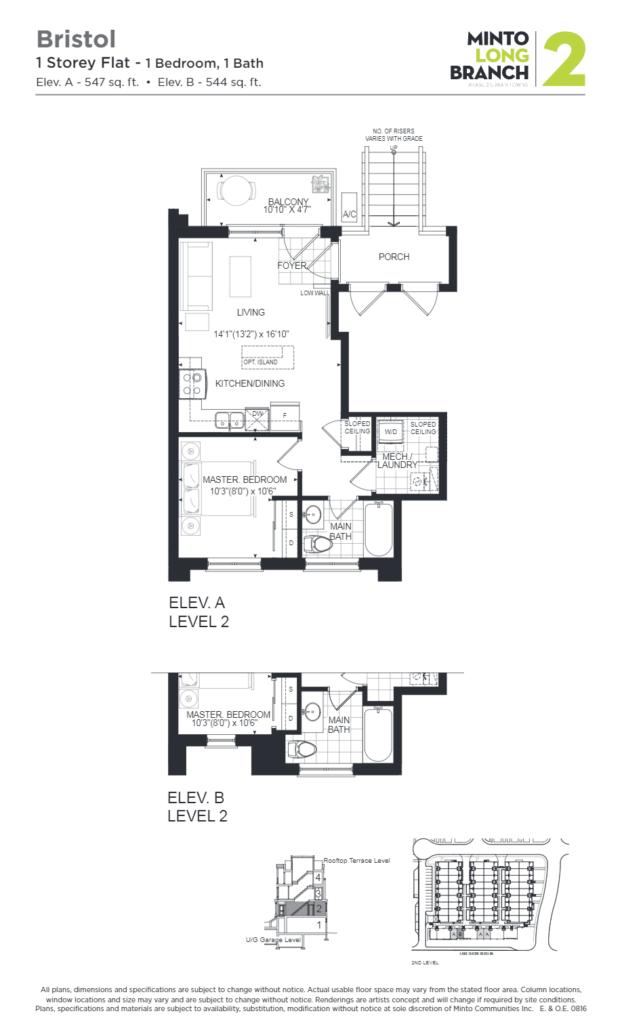 Minto Longbranch Townhomes - Bristol Floorplan --