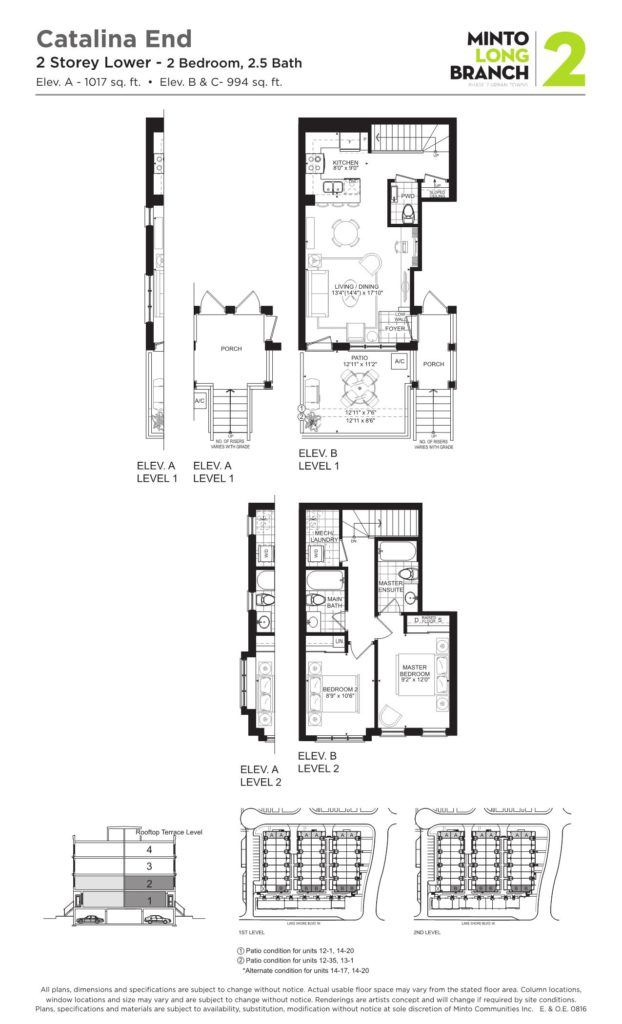 Minto Longbranch Townhomes - Catalina End 2 Floorplans