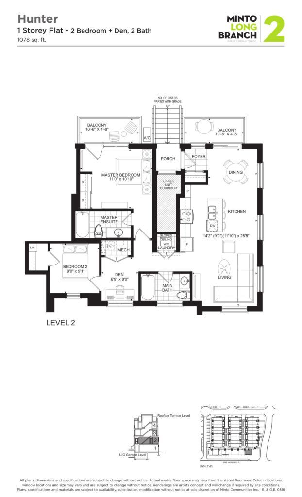 Minto Longbranch Townhomes - Hunter Floorplan --