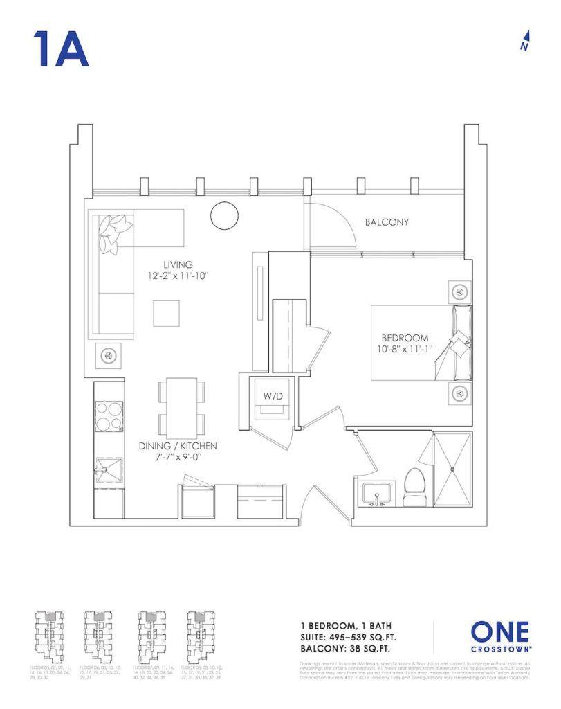 One Crosstown Condos Floorplan - 03 - One Bedroom 1A - by Yossi Kaplan, MBA