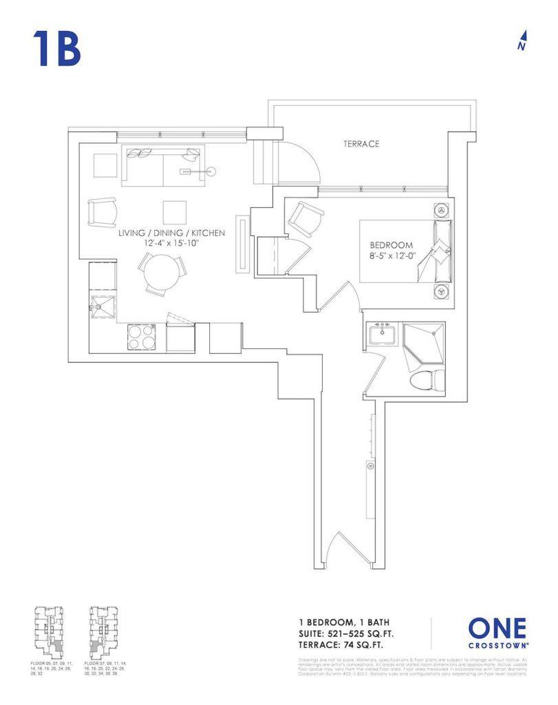One Crosstown Condos Floorplan - 04 - One Bedroom 1B - by Yossi Kaplan, MBA