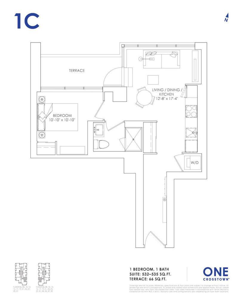 One Crosstown Condos Floorplan - 05 - One Bedroom 1C - by Yossi Kaplan, MBA