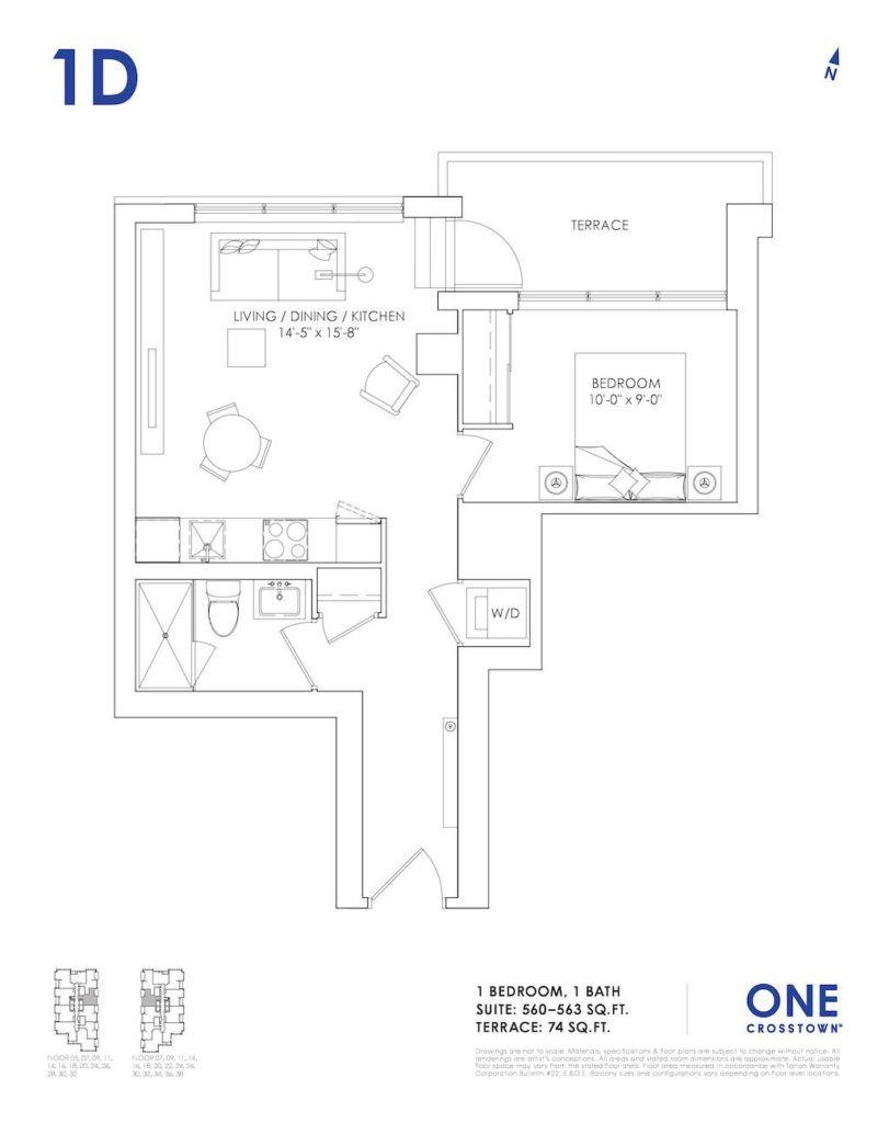 One Crosstown Condos Floorplan - 06 - One Bedroom 1D- by Yossi Kaplan, MBA