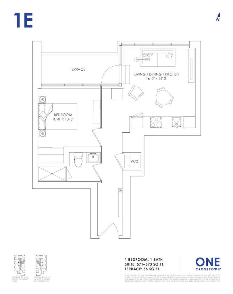 One Crosstown Condos Floorplan - 07 - One Bedroom 1E - by Yossi Kaplan, MBA