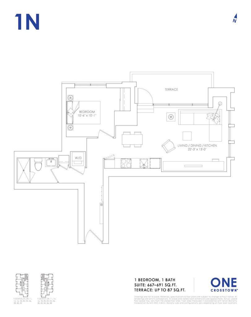 One Crosstown Condos Floorplan - 08 - One Bedroom 1N - by Yossi Kaplan, MBA
