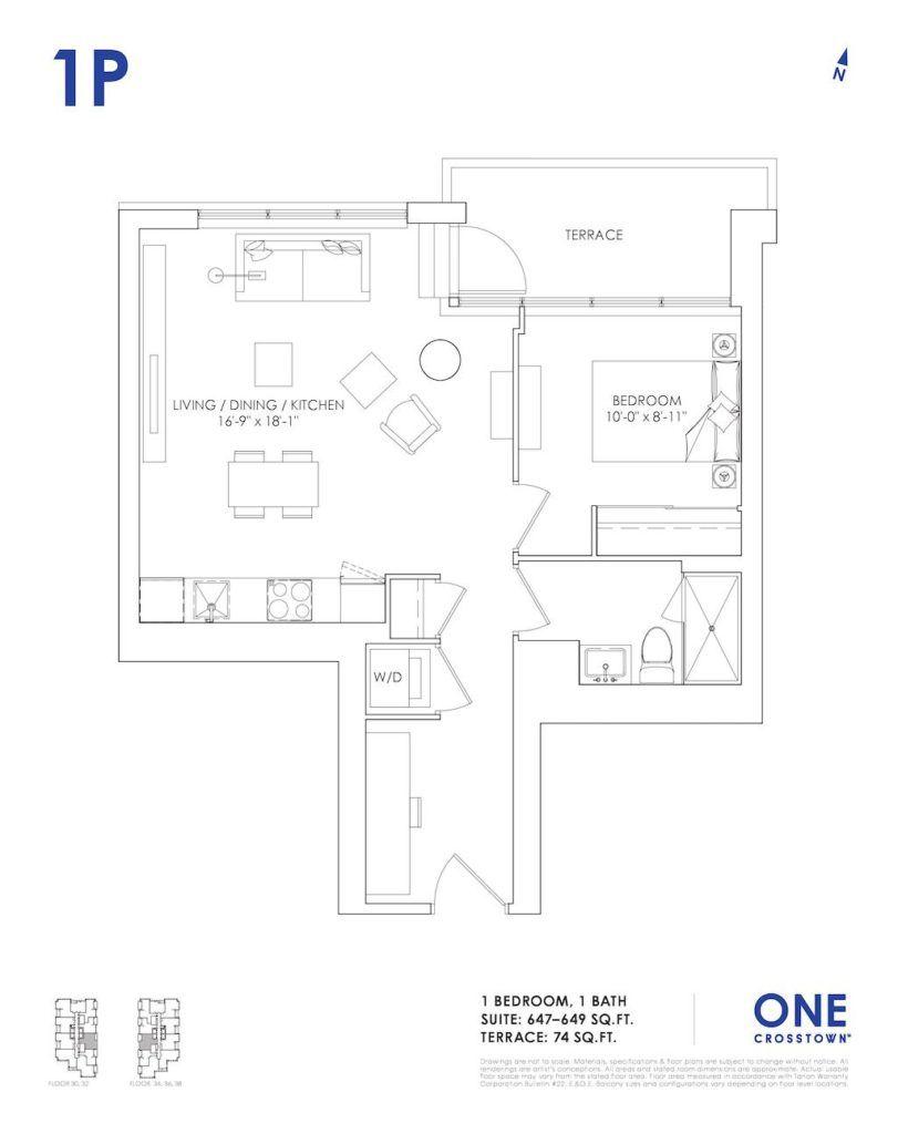 One Crosstown Condos Floorplan - 09 - One Bedroom 1P - by Yossi Kaplan, MBA