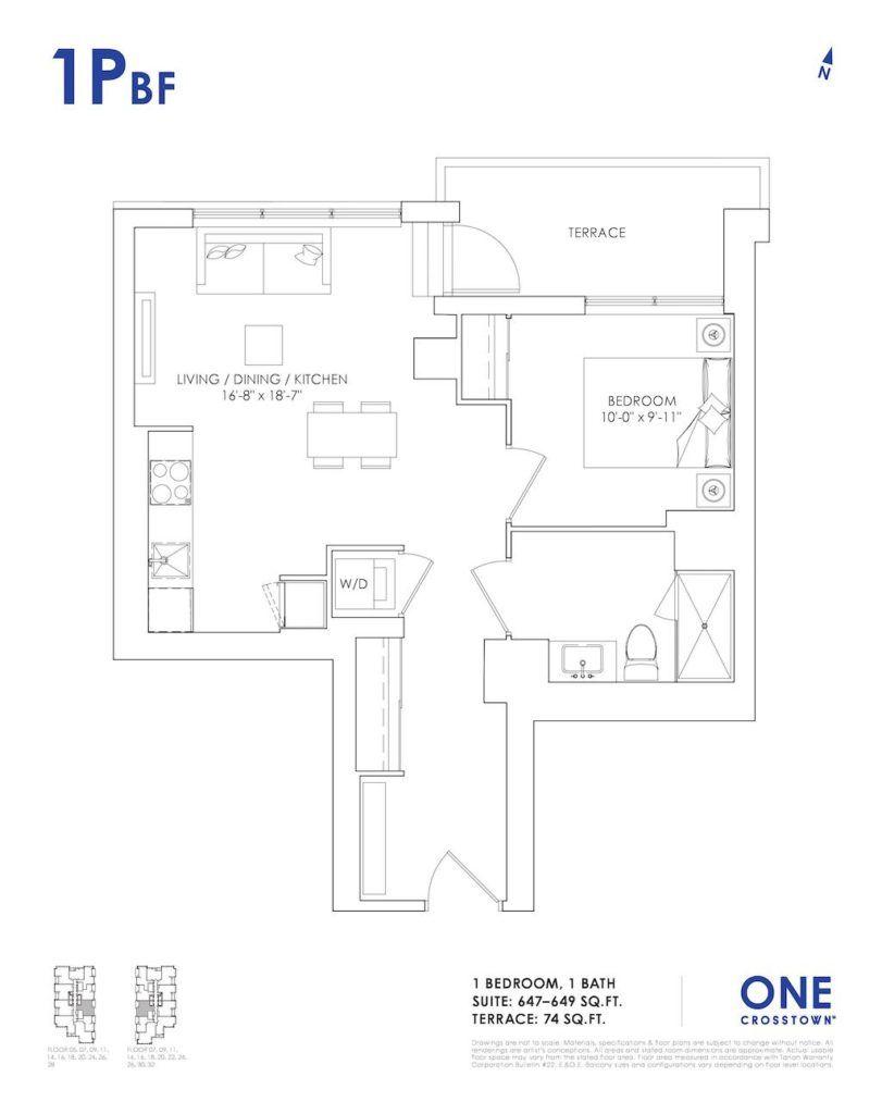 One Crosstown Condos Floorplan - 10 - One Bedroom 1Pbf - by Yossi Kaplan, MBA