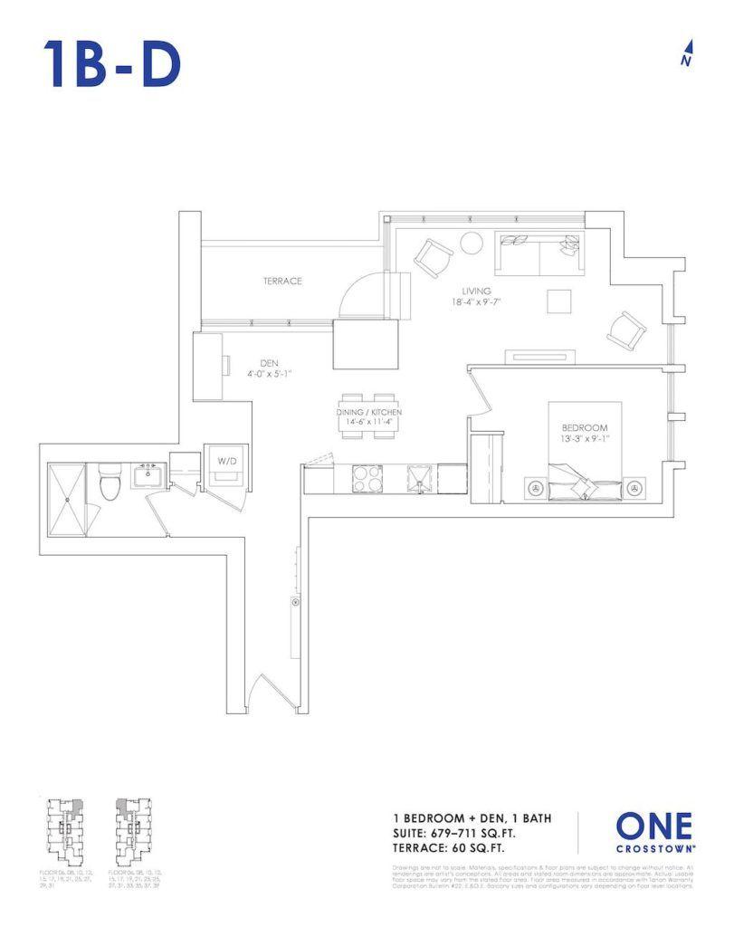 One Crosstown Condos Floorplan - 13 - One Bedroom Den 1B-D - by Yossi Kaplan, MBA
