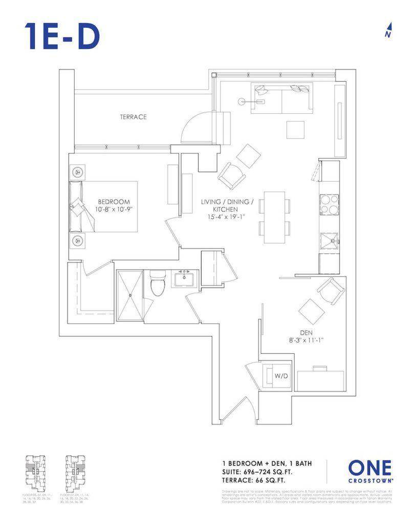 One Crosstown Condos Floorplan - 14 - One Bedroom Den 1E-D - by Yossi Kaplan, MBA