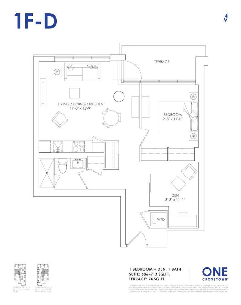 One Crosstown Condos Floorplan - 15 - One Bedroom Den 1F-D - by Yossi Kaplan, MBA